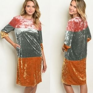 Multi colored stretchy velvet dress